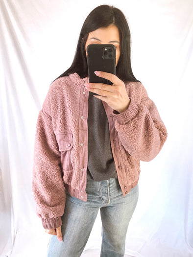Pillow Talk Sherpa Bomber