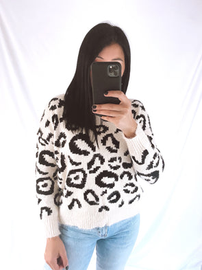 Cream Animal Twist Back Sweater