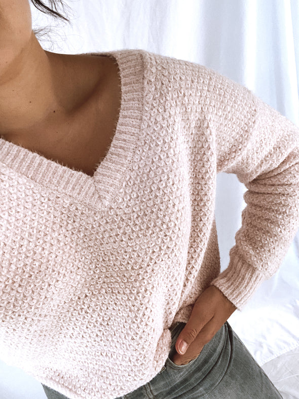 Pale Pink Vneck Sweater