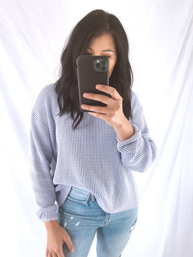 Lilac Open Back Sweater