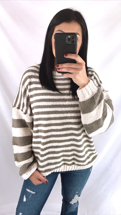 Olive Striped Chenille Sweater