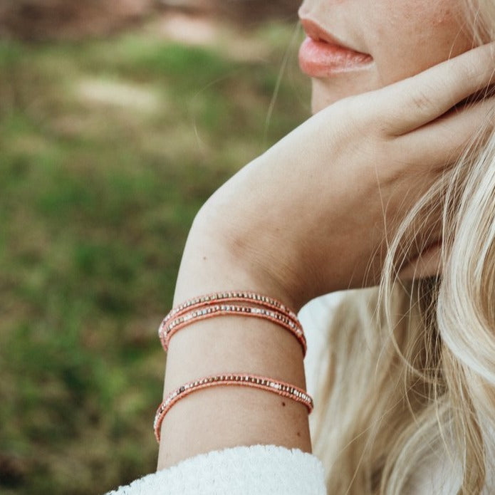 Pink Havana Beaded Wrap Bracelet