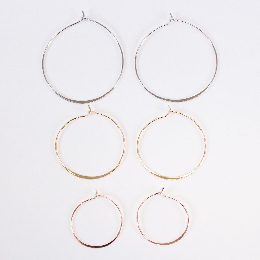 Simple Hammered Wire Hoops