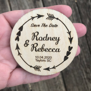 Save the date magnets wooden circle