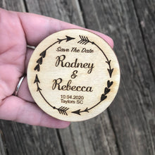 Load image into Gallery viewer, Save the date magnets wooden circle