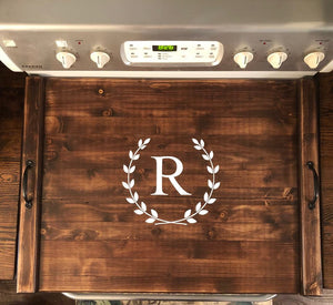 Rustic Farmhouse Wooden Kitchen Stove Top Cover Tray Noodle board ,monogram