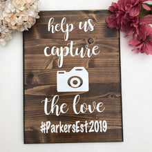 Load image into Gallery viewer, Capture the Love, Instagram Hashtag,  Wedding Sign