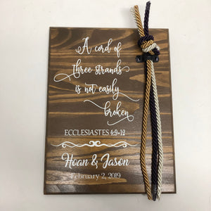 Cord of Three Strands Sign, Ecclesiastes 4:9-12, Alternative Unity Candle
