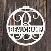 Load image into Gallery viewer, Last name Circle Monogram - monogram Door Hanger - Wedding Monogram