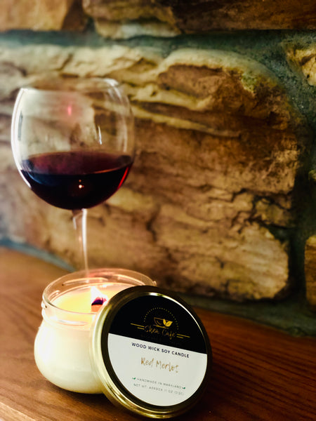 Red Merlot Wood Wick Soy Candle