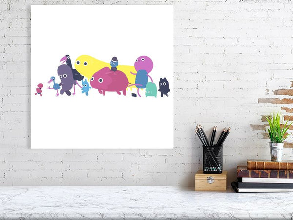 Creatures Parade Art Print White Large Howard Kingston