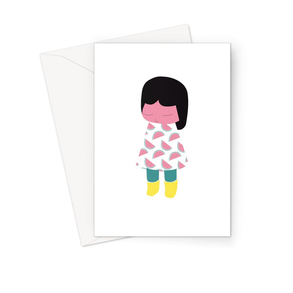 Yellow Boots - Watermelons Greeting Card