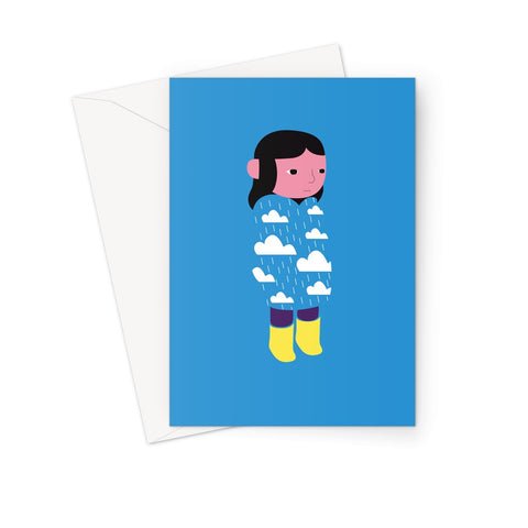 Yellow Boots - Rain Clouds Greeting Card Front Howard Kingston