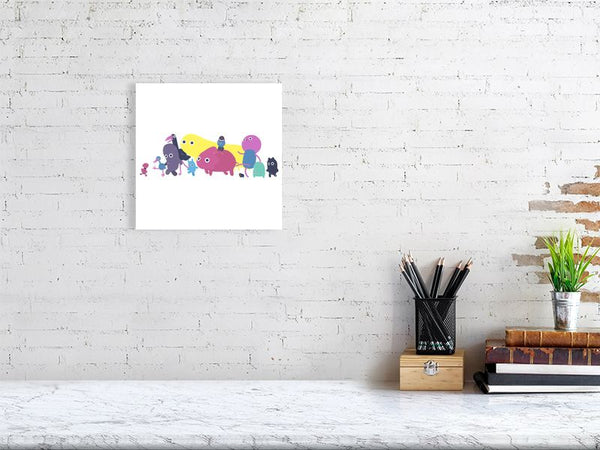 Creatures Parade Art Print White Medium Howard Kingston
