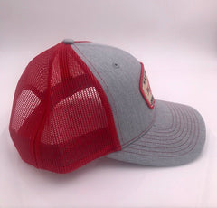 Gray and Red Trucker Hat with HB Patch