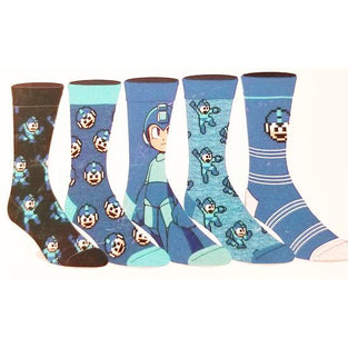 Mega Man - 5 x Pairs of Crew Socks - FREE SHIPPING