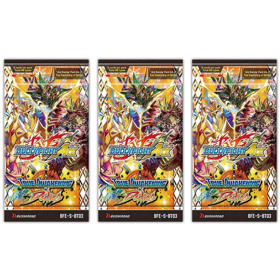 Buddyfight ACE True Awakening of Deities English - 3 x Booster Packs - FREE SHIPPING!