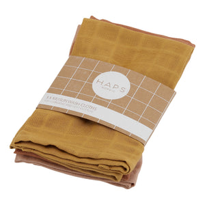 Reusable Muslin Wash Cloths, Warm Solid