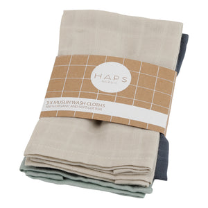Reusable Muslin Wash Cloths, Cold Solid