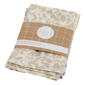 Reusable Muslin Wash Cloths, Cold Terrazzo