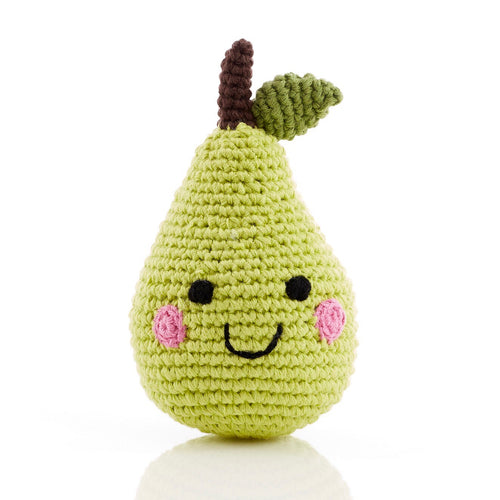 handmade crochet soft toy rattle pear, pebble toy friendly fruit