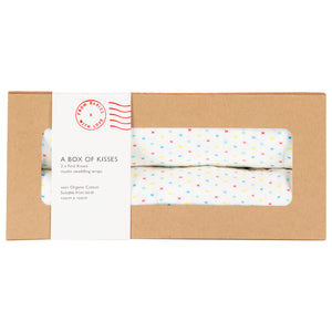two organic muslins for babies with multicoloured kiss pattern