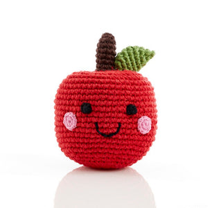 handmade crochet soft toy rattle apple, pebble toy friendly fruit