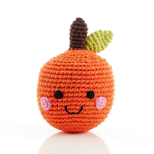 handmade crochet soft toy rattle orange, pebble toy friendly fruit