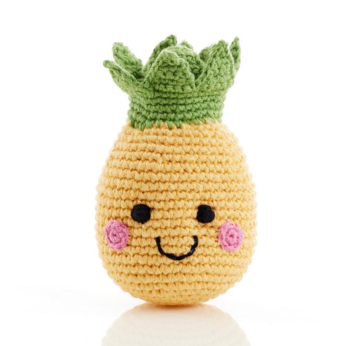 handmade crochet soft toy rattle pineapple, pebble toy friendly fruit
