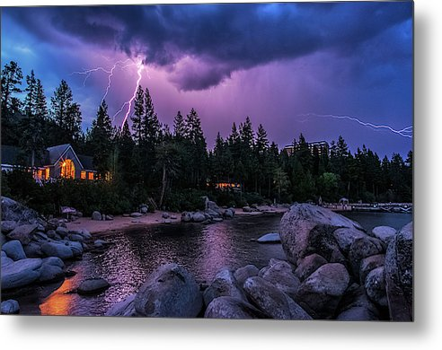 Lightning Strikes - Metal Print