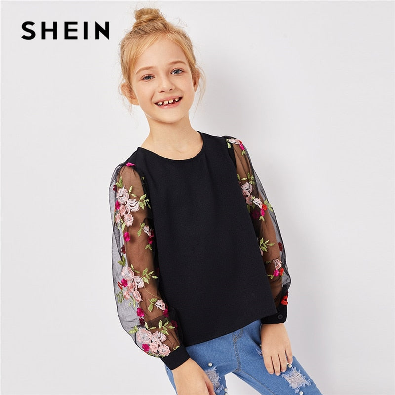 e392a58ad46591 SHEIN Kiddie Girls Black Mesh Floral Embroidered Keyhole Back Casual Blouse  Children 2019 Spring Korean Long ...