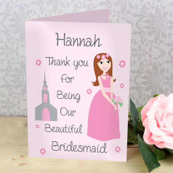 Personalised Fabulous Bridesmaid Card with personalised name
