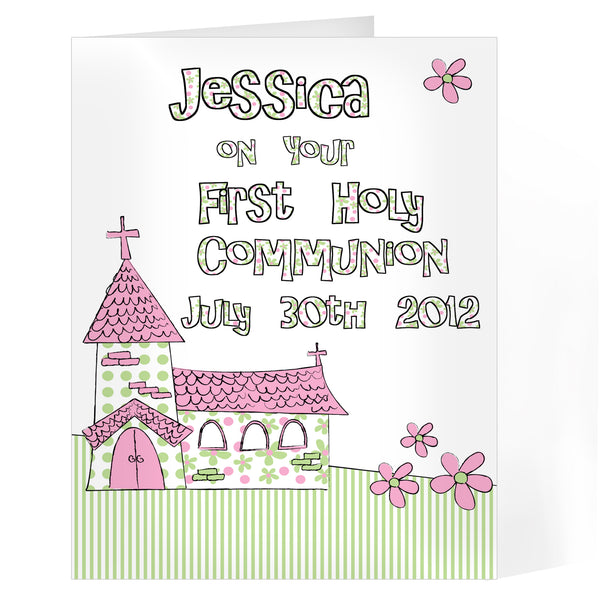 Personalised Whimsical Church Pink 1st Holy Communion Card white background