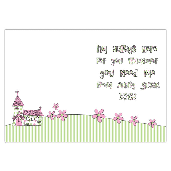 Personalised Whimsical Church Pink 1st Holy Communion Card from Sassy Bloom Gifts - alternative view