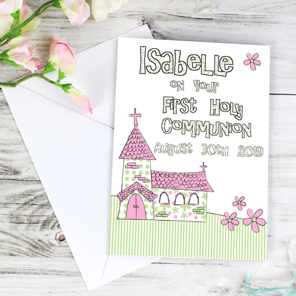 Personalised Whimsical Church Pink 1st Holy Communion Card lifestyle image