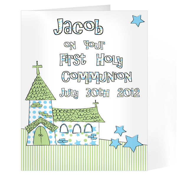 Personalised Whimsical Church Blue 1st Holy Communion Card white background