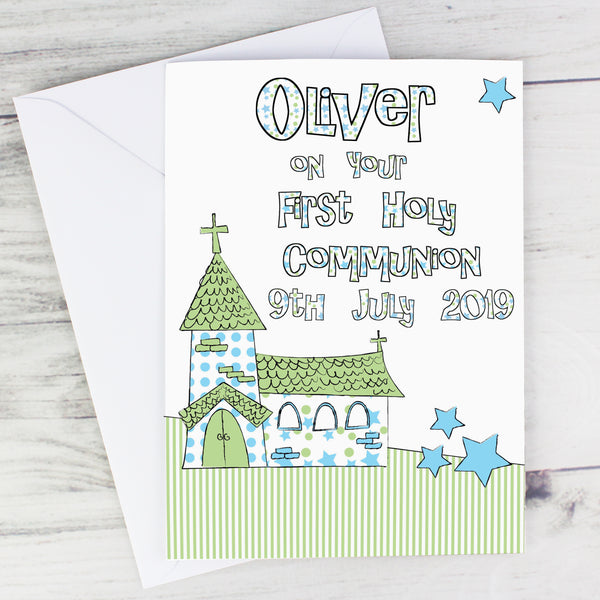 Personalised Whimsical Church Blue 1st Holy Communion Card lifestyle image