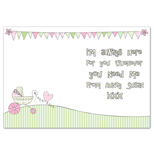 Personalised Whimsical Pram Card from Sassy Bloom Gifts - alternative view