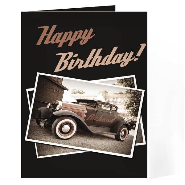 Personalised Classic Car Card white background