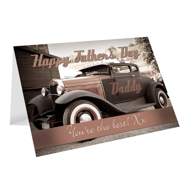 Personalised Classic Car Father's Day Card white background