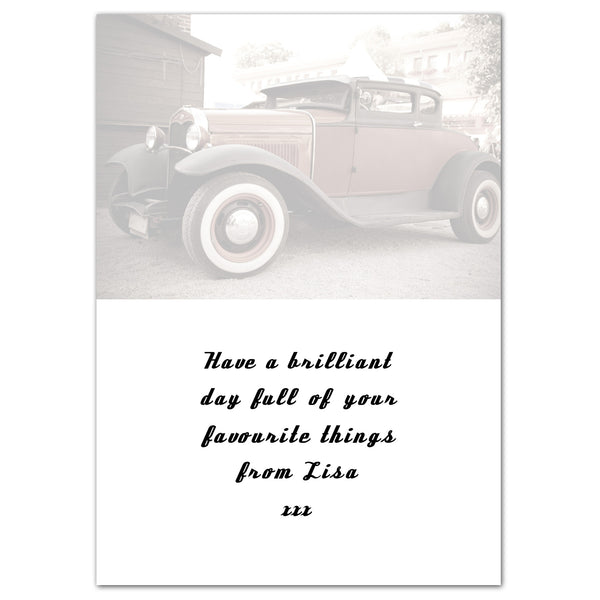 Personalised Classic Car Father's Day Card from Sassy Bloom Gifts - alternative view