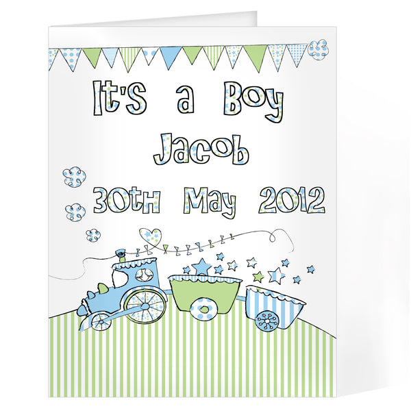 Personalised Whimsical Train Its a Boy Card white background