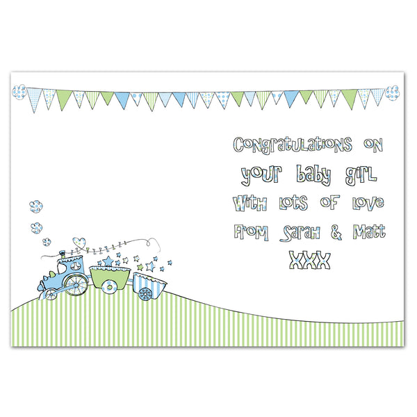 Personalised Whimsical Train Its a Boy Card from Sassy Bloom Gifts - alternative view