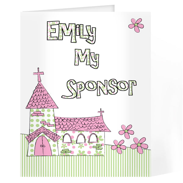 Personalised Pink Church Godmother Card with personalised name
