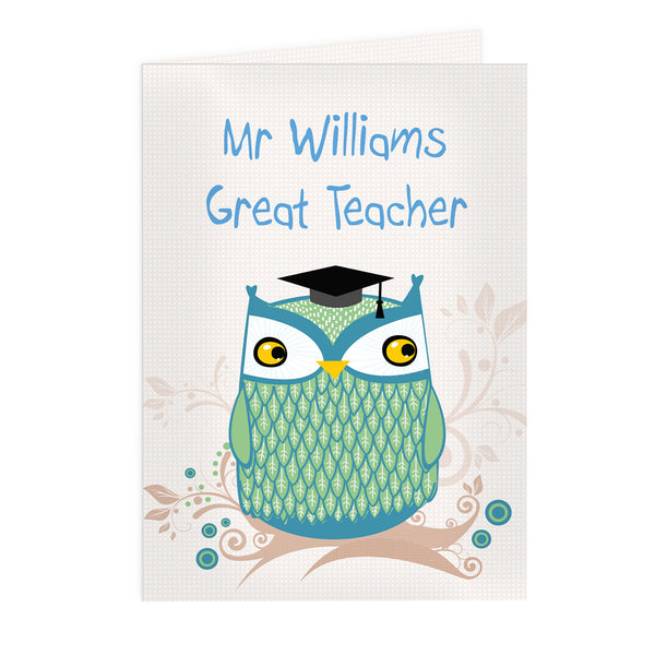Personalised Mr Owl Teacher Card white background