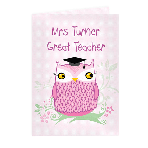 Personalised Miss Owl Teacher Card white background
