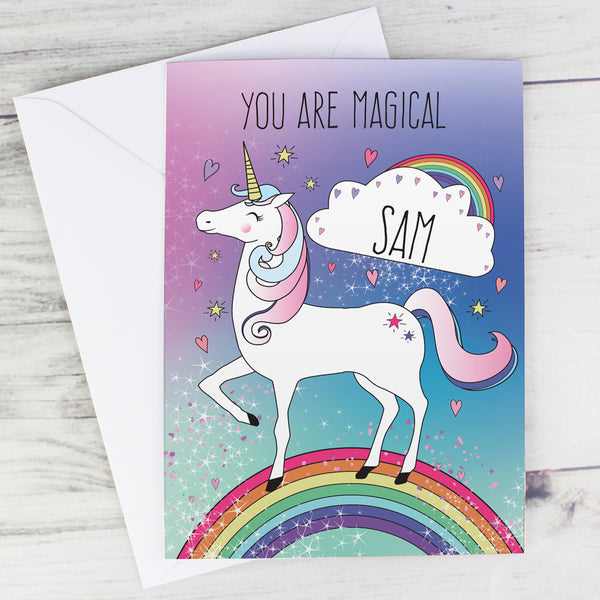 Personalised Unicorn Card with personalised name