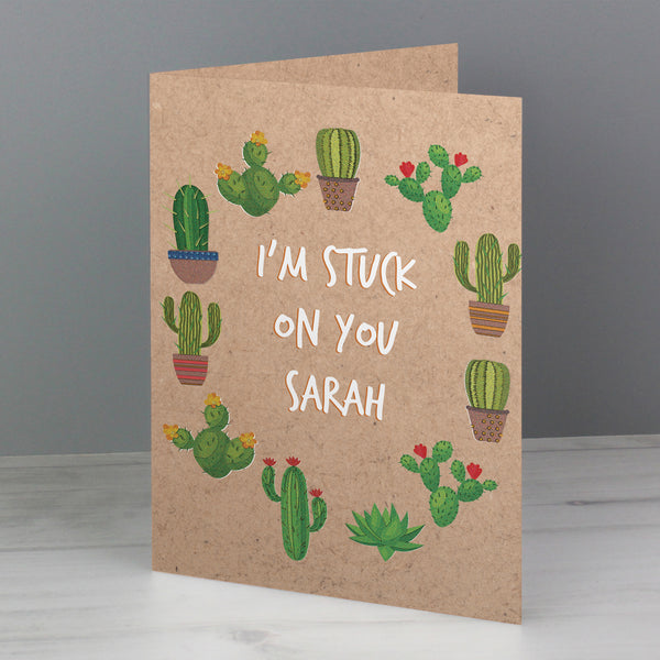 Personalised Cactus Card with personalised name