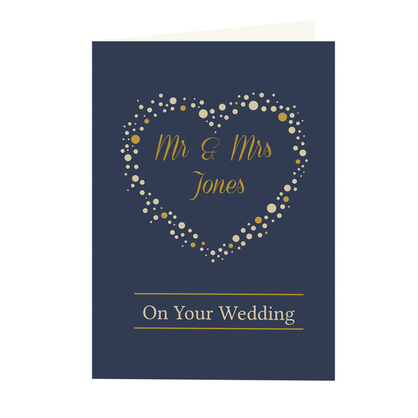 Personalised Gold Confetti Heart Card white background