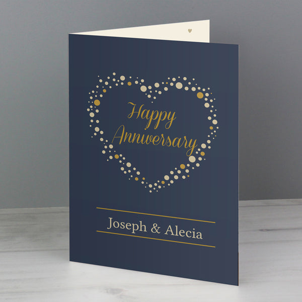 Personalised Gold Confetti Heart Card lifestyle image